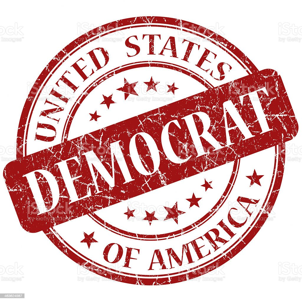 Democrat Red stamp stock photo
