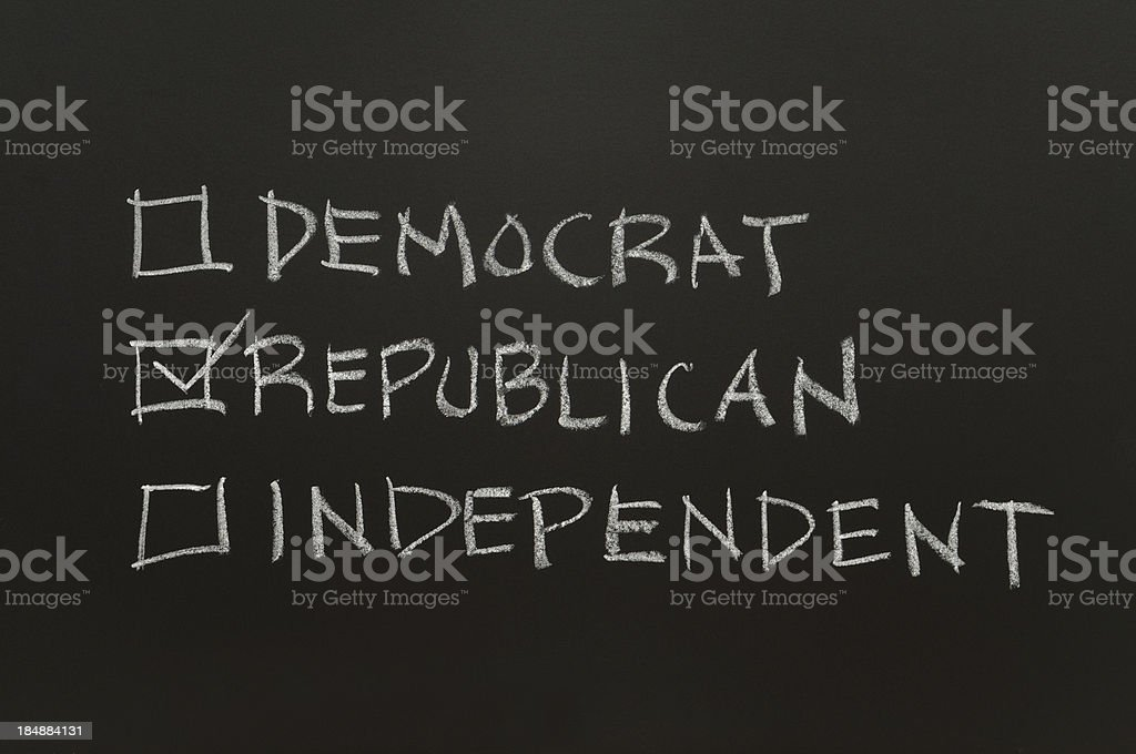 Democrat, Republican or Independent Checkbox royalty-free stock photo