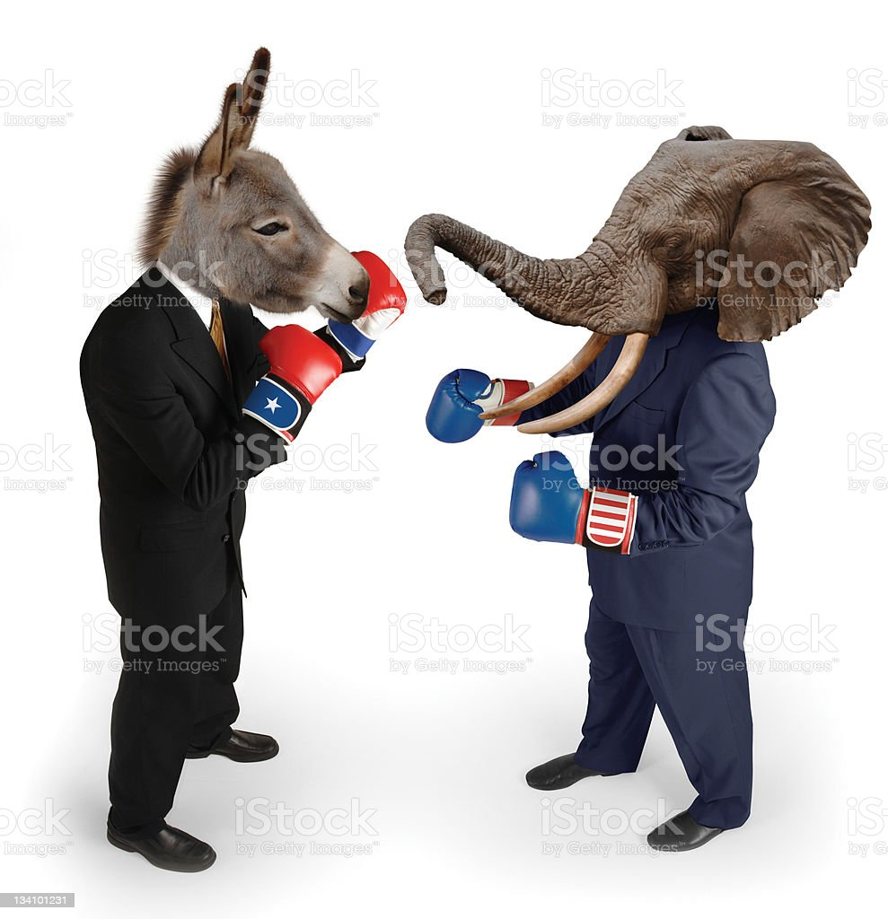 Democrat vs. Republican on white stock photo