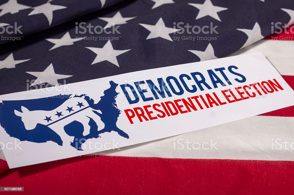Democratic Presidential Election Vote and American Flag stock photo