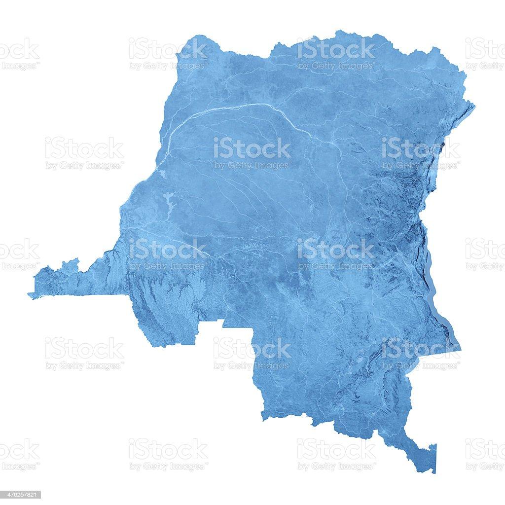 Democratic Republic Congo Topographic Map Isolated royalty-free stock photo
