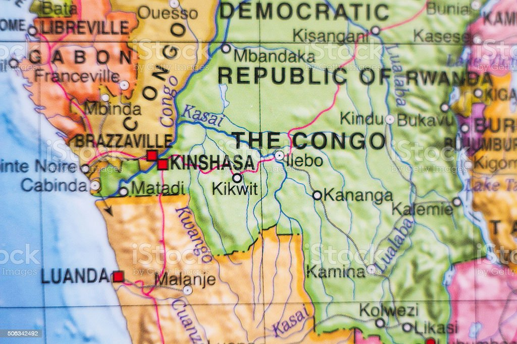 Democratic Republic of the Congo country map . stock photo