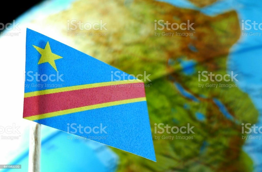 Democratic Republic of the Congo flag and map as background stock photo