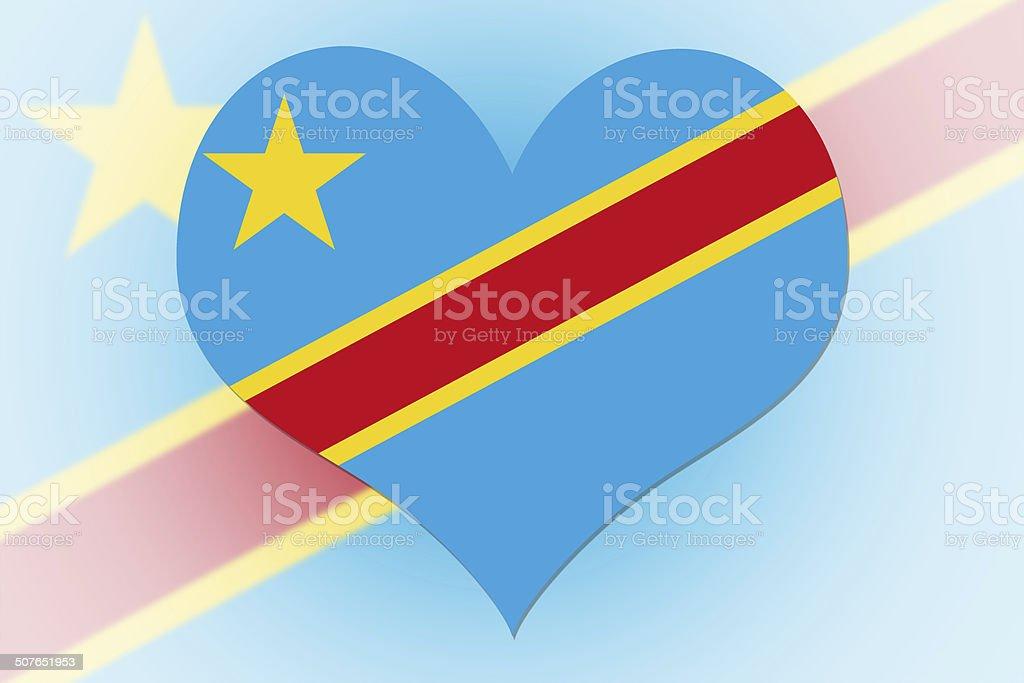 Democratic Republic of the Congo Flag heart stock photo