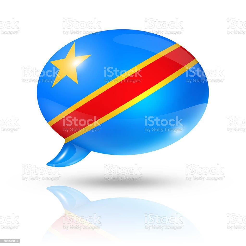 Democratic Republic of the Congo flag speech bubble stock photo