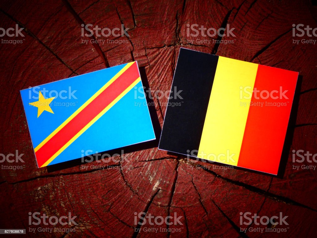 Democratic Republic of the Congo flag with Belgian flag on a tree stump isolated stock photo