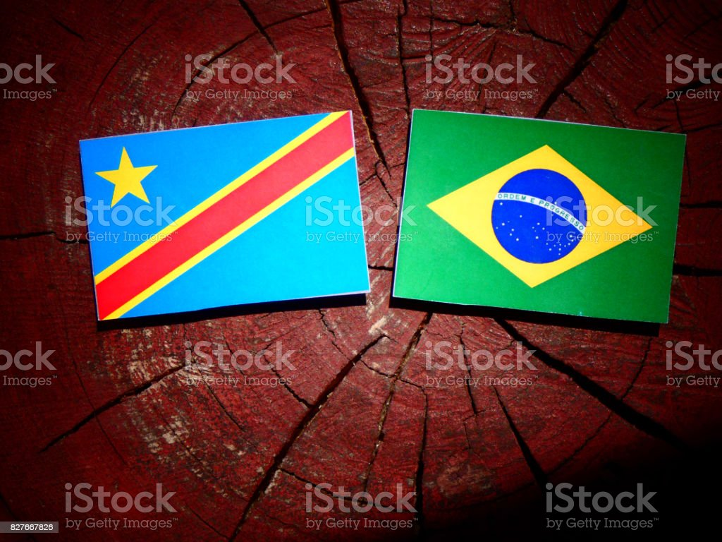 Democratic Republic of the Congo flag with Brazilian flag on a tree stump isolated stock photo