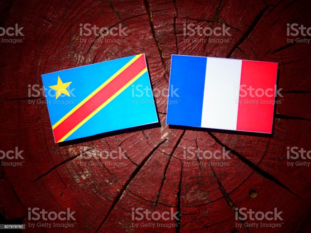 Democratic Republic of the Congo flag with French flag on a tree stump isolated stock photo