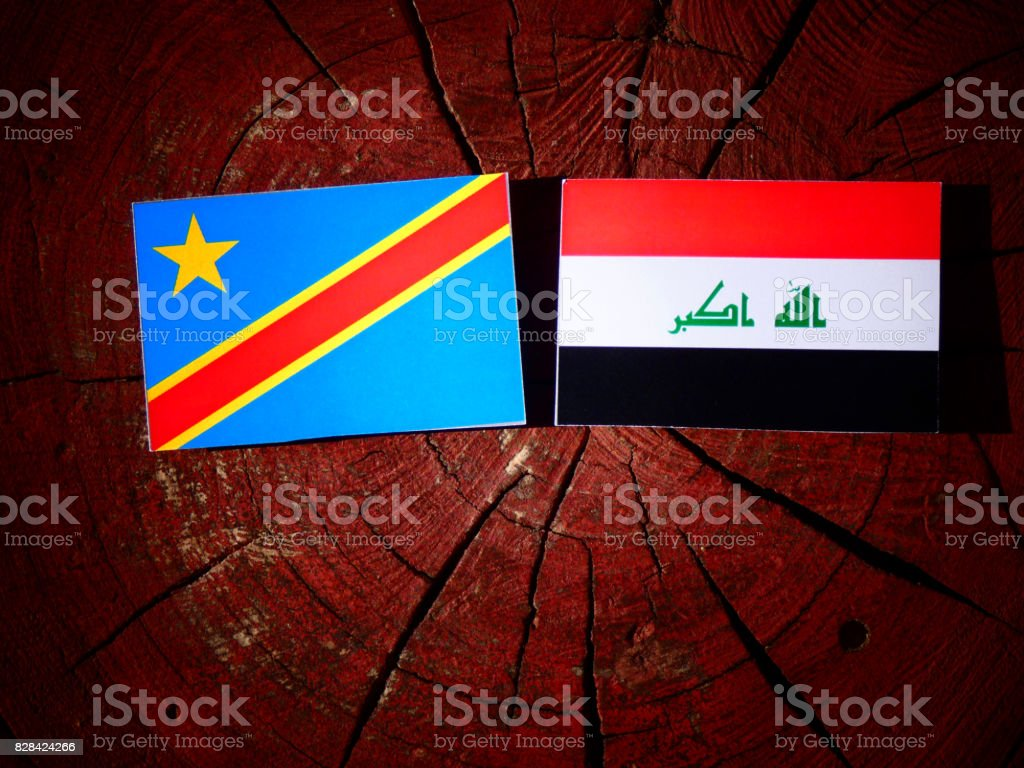 Democratic Republic of the Congo flag with Iraqi flag on a tree stump isolated stock photo