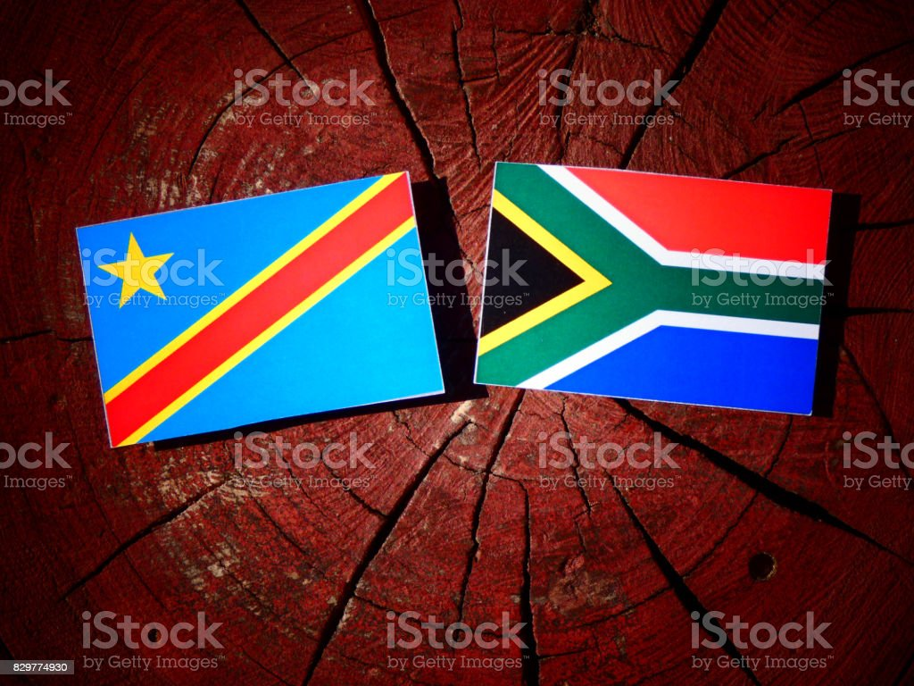 Democratic Republic of the Congo flag with South African flag on a tree stump isolated stock photo