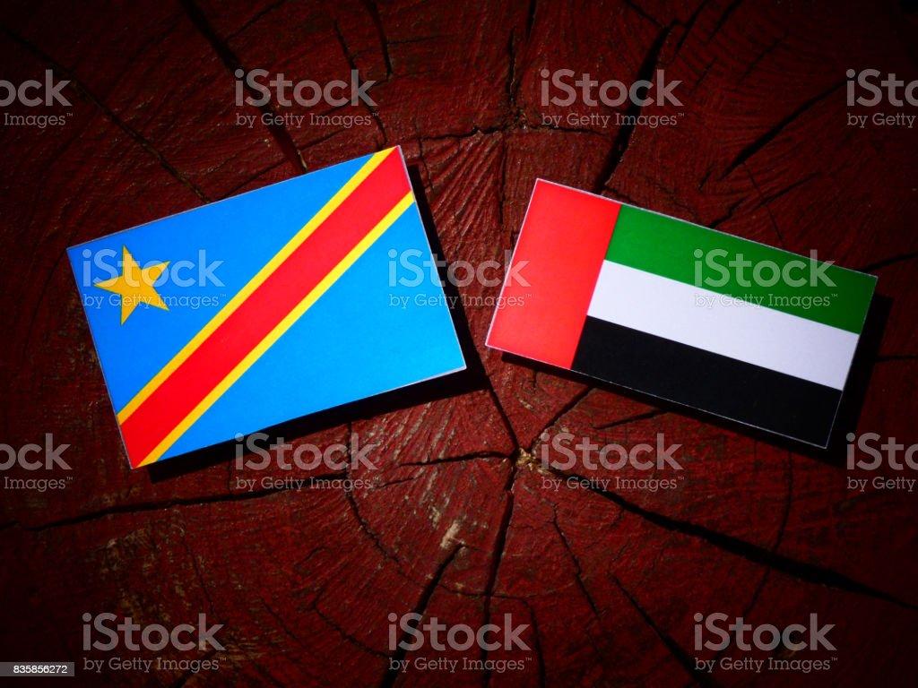 Democratic Republic of the Congo flag with United Arab Emirates flag on a tree stump isolated stock photo