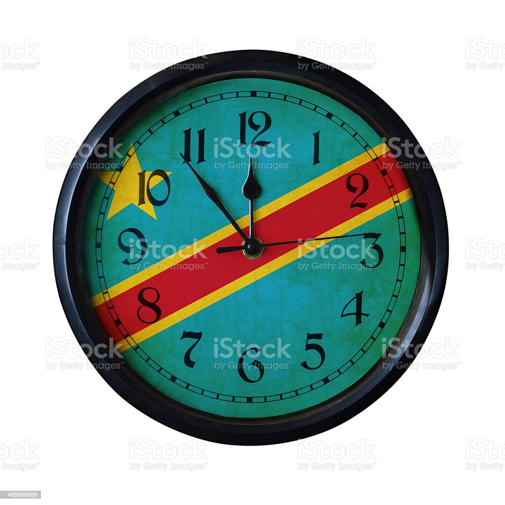 Democratic-Republic-of-the-Congo Flag Wall clock - Watch port for same series stock photo