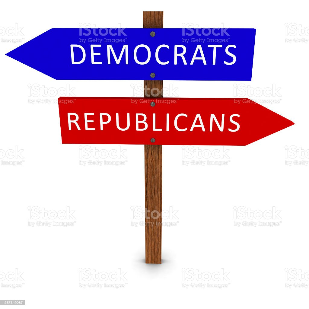 Democrats and Republicans Political Sign stock photo