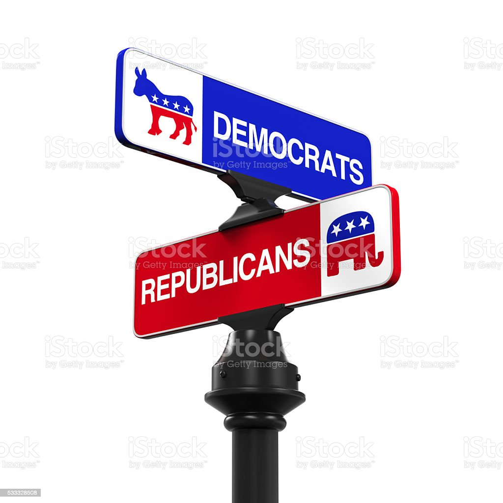 Democrats Republicans Direction Sign stock photo