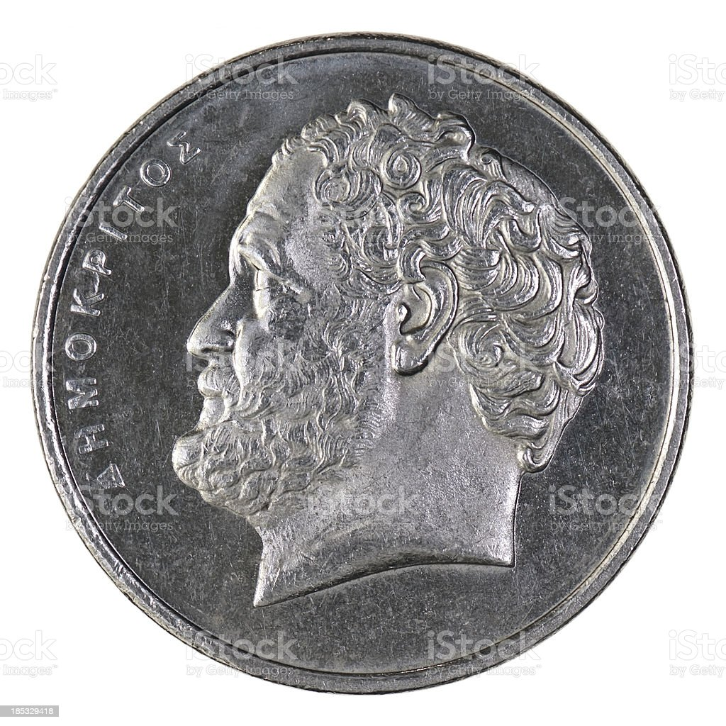 'Demokritus, Philosopher on 10 Greek Drachma Coin' stock photo