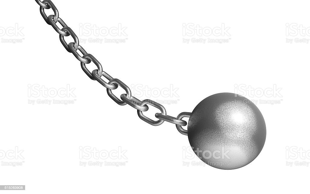 Demolish ball hanging on the iron chain. Isolated on white. stock photo