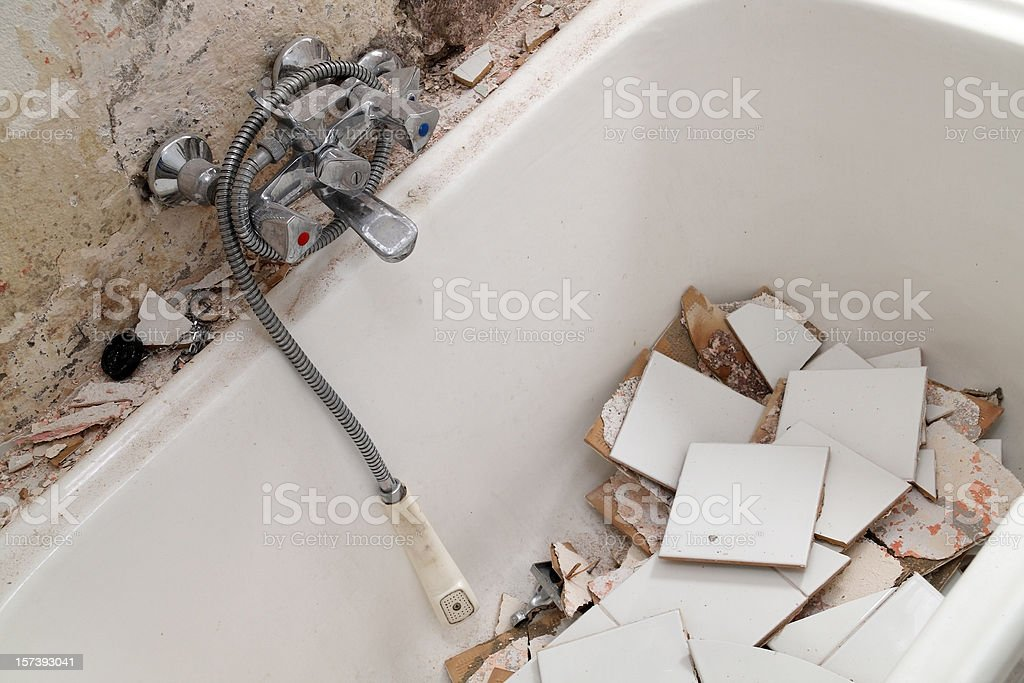 Demolished bath tub royalty-free stock photo