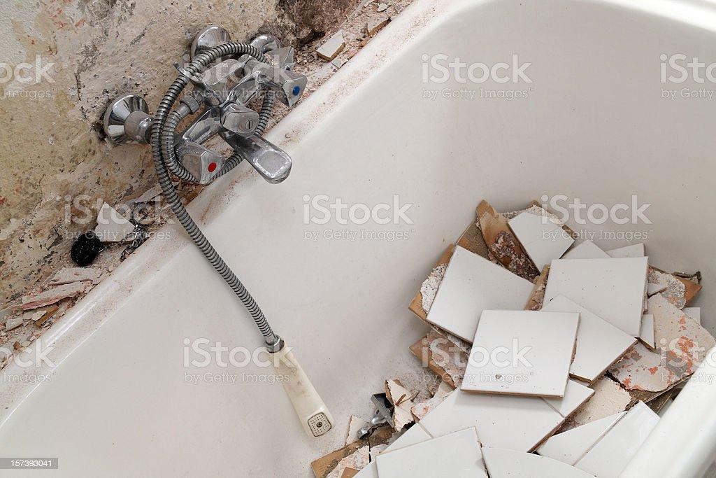 Demolished bath tub stock photo