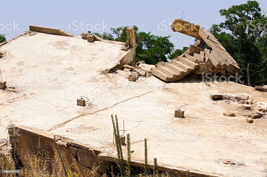 Demolished building in Quneitra, Syria stock photo