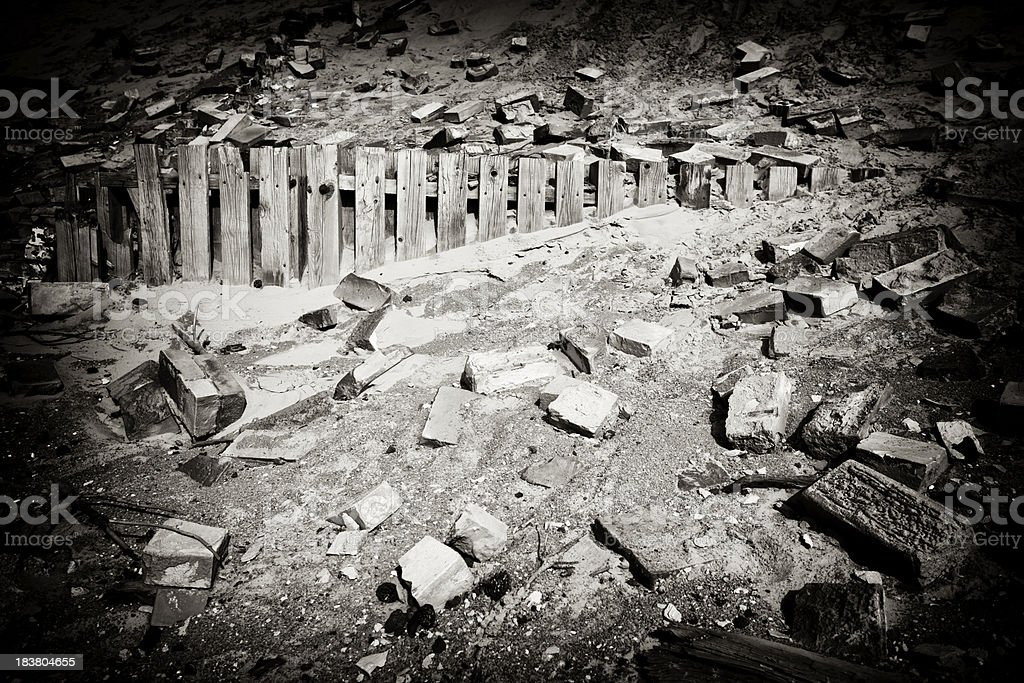 Demolished building stock photo