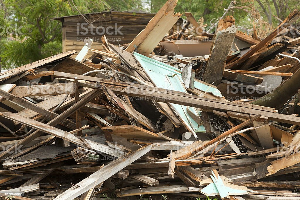 Demolished Building, Pile of Rubble, Natural Disaster stock photo