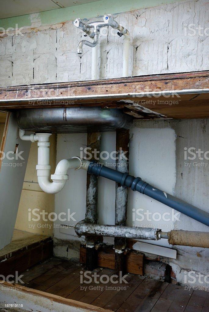 Demolished domestic kitchen stock photo