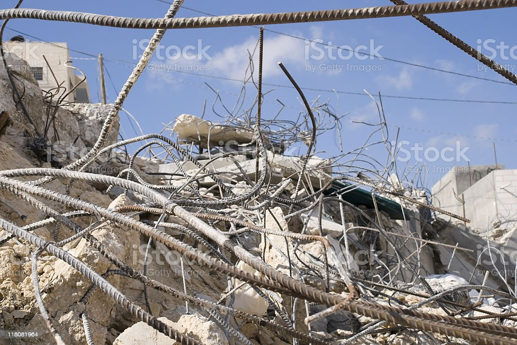 Rubble of a demlished home royalty-free stock photo