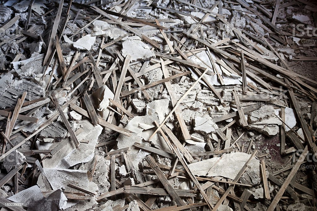 Demolished lath and plaster ceiling royalty-free stock photo
