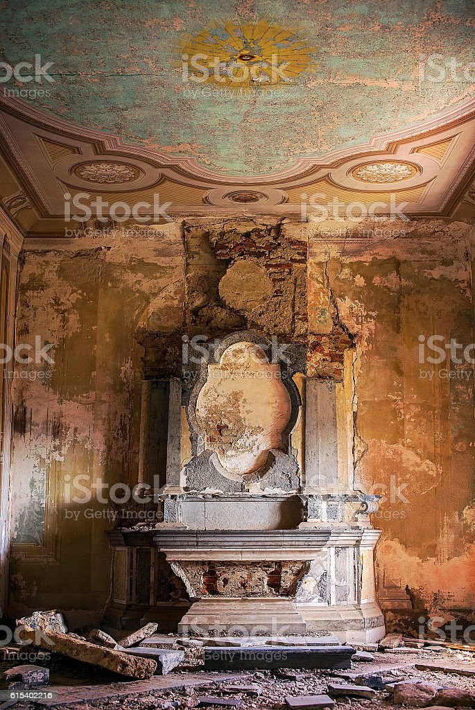 Demolished old church altar stock photo