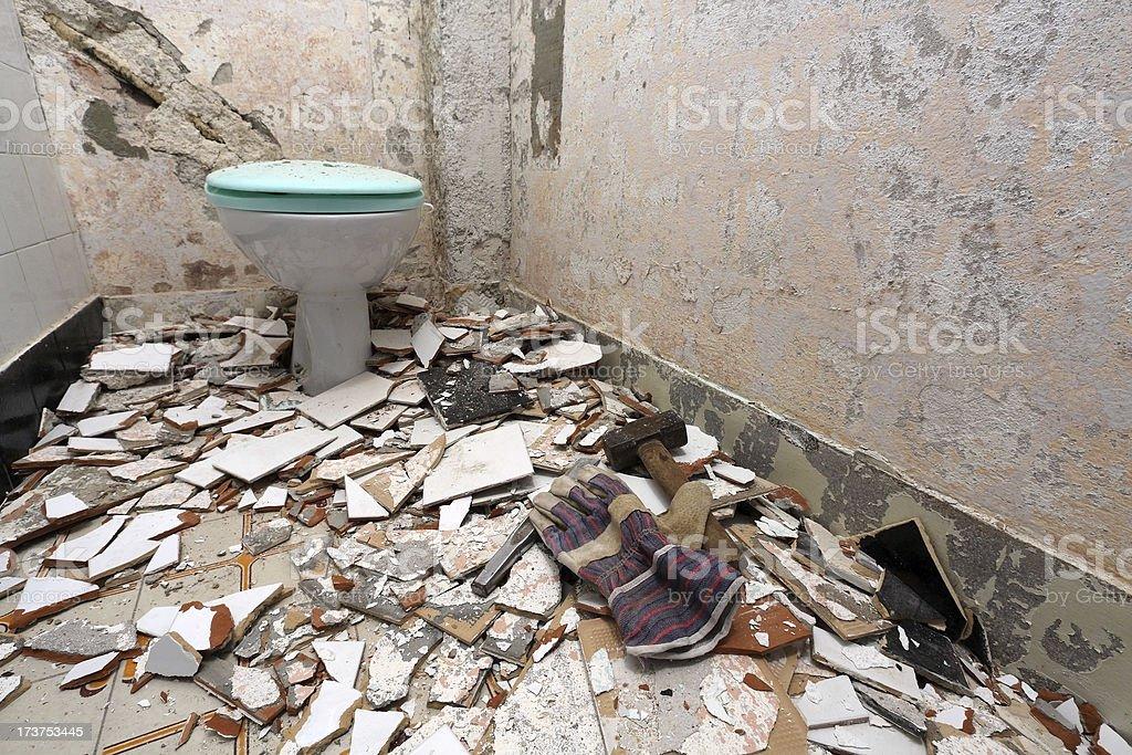 Demolished toilet royalty-free stock photo