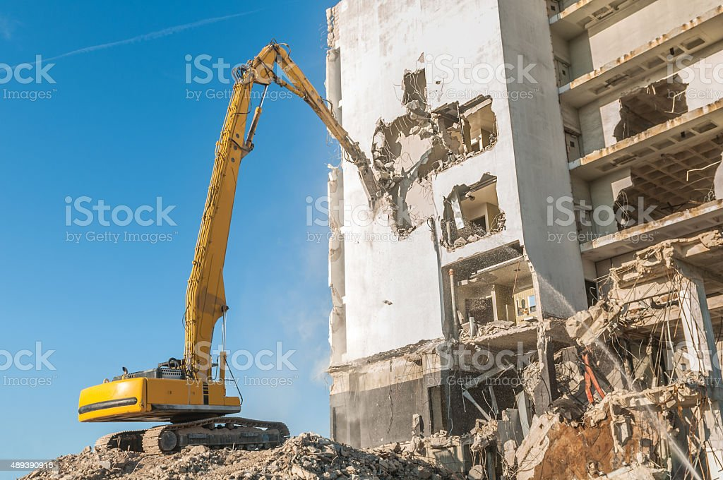 Demolishing a building stock photo