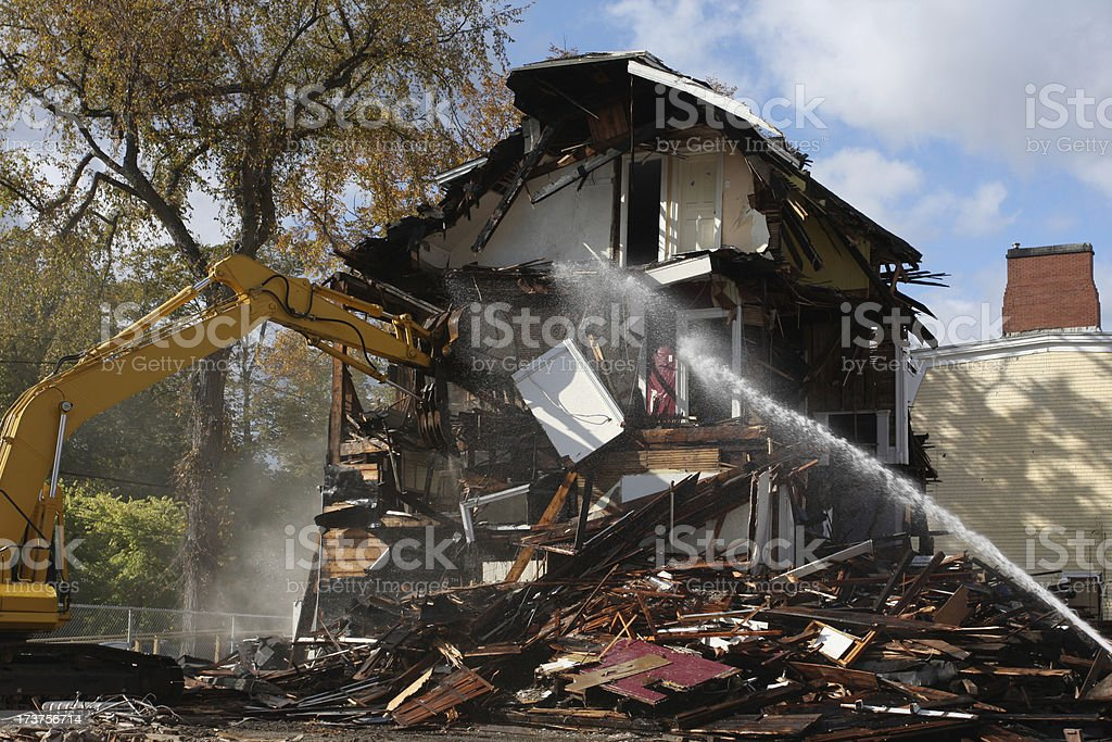 Demolishing An Old House Series royalty-free stock photo
