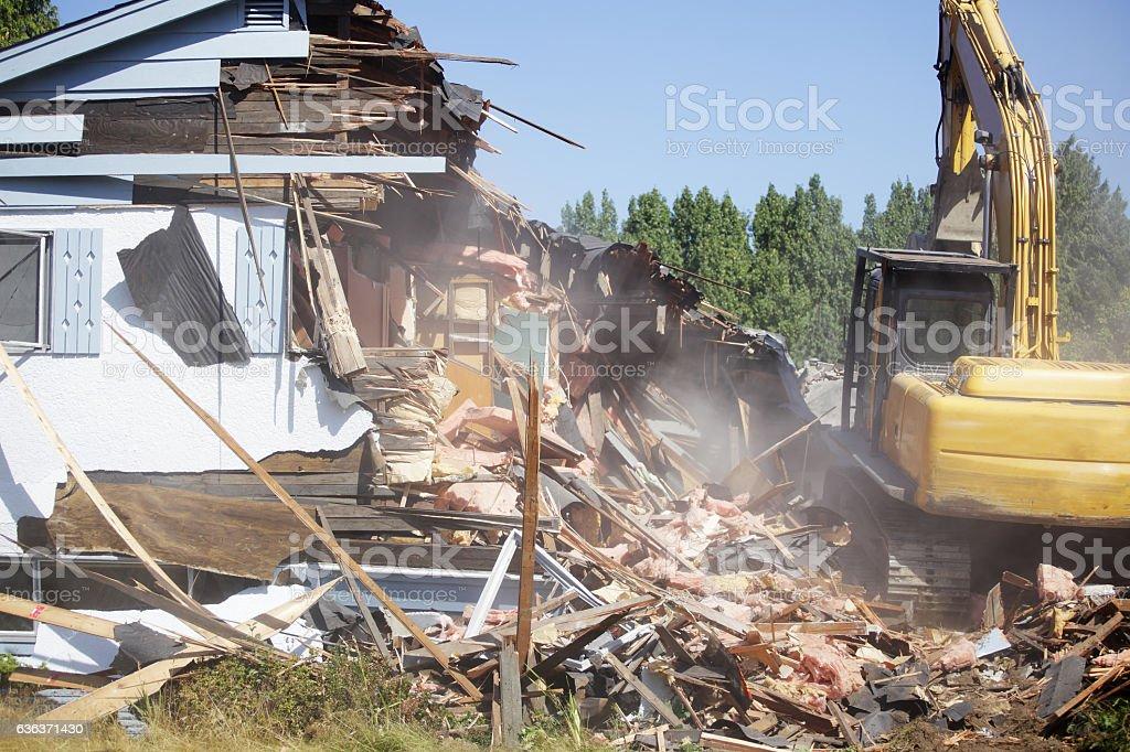 Demolishing, building teardown stock photo