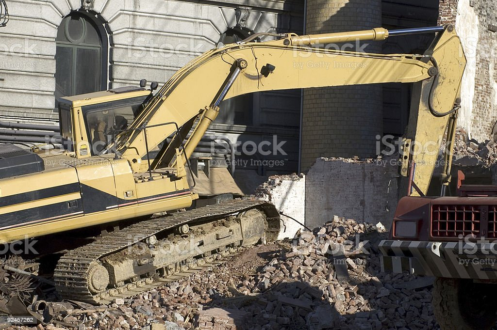 Demolition and Backhoe royalty-free stock photo