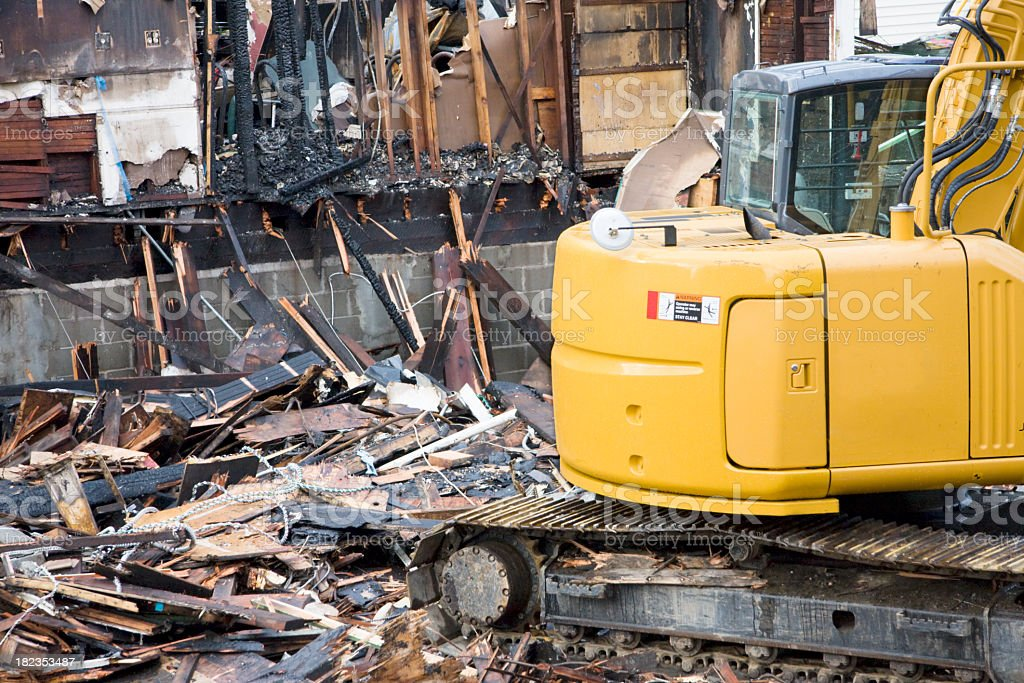 Demolition at an arson fire site  stock photo