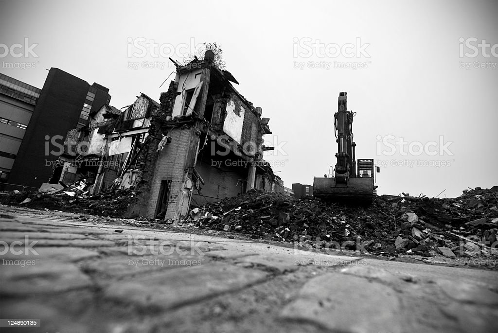 Demolition black and white royalty-free stock photo