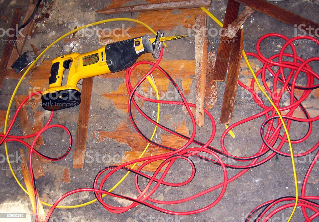 Demolition contruction tools wires stock photo