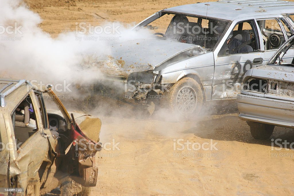Demolition derby car on fire stock photo
