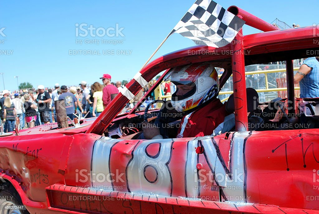 Demolition Derby Driver Metally Prepares for Race stock photo