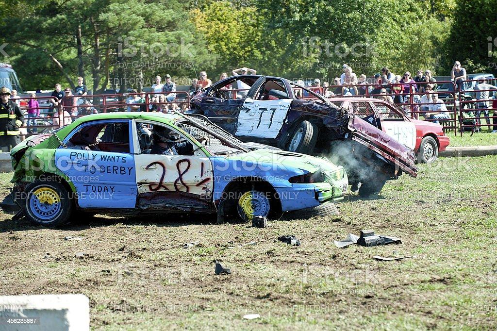 demolition derby stock photo