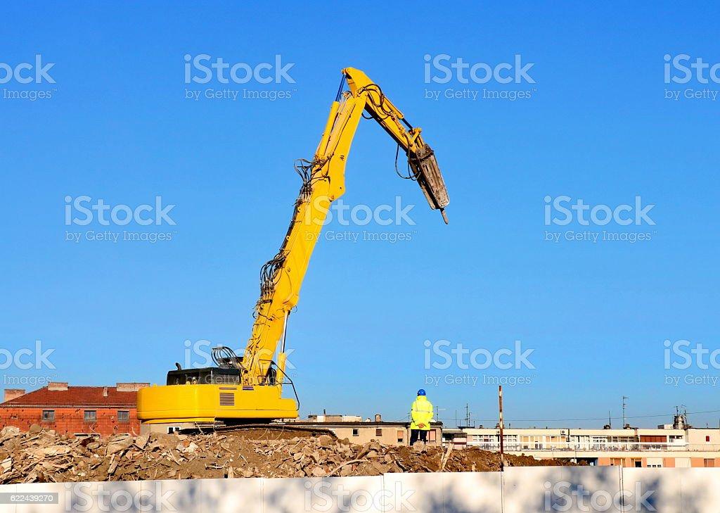 Demolition excavator stock photo