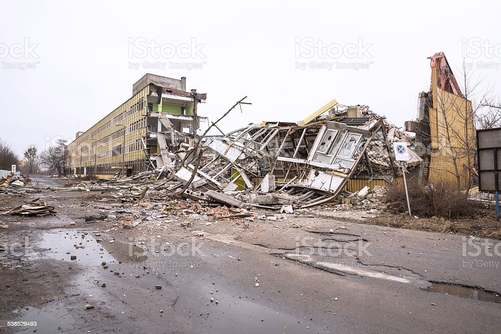 Demolition of a factory building stock photo