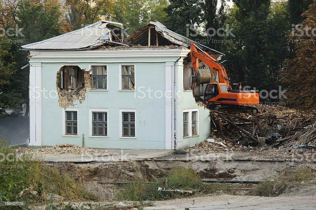Demolition of an old house royalty-free stock photo
