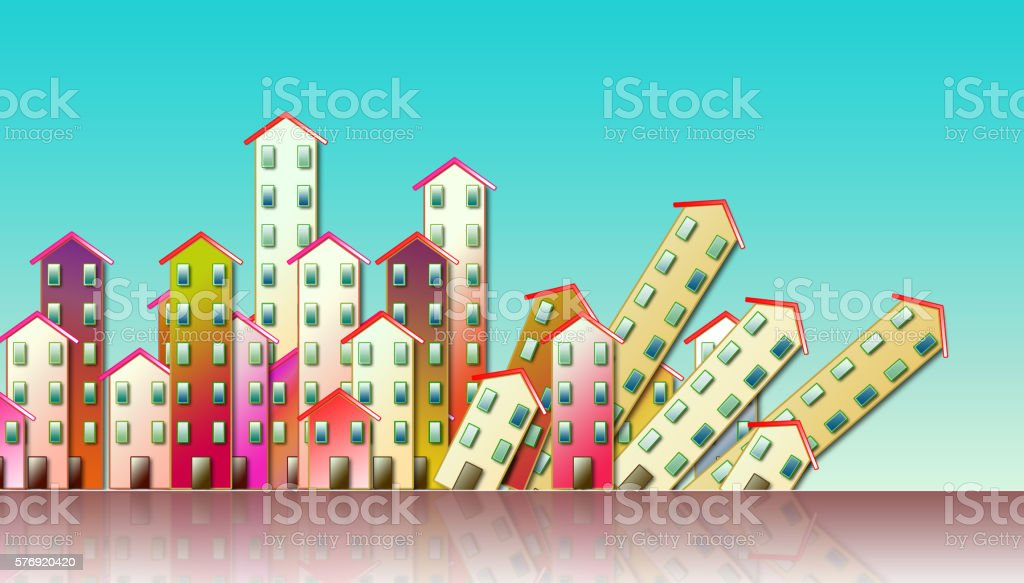 Demolition of an urban agglomeration stock photo