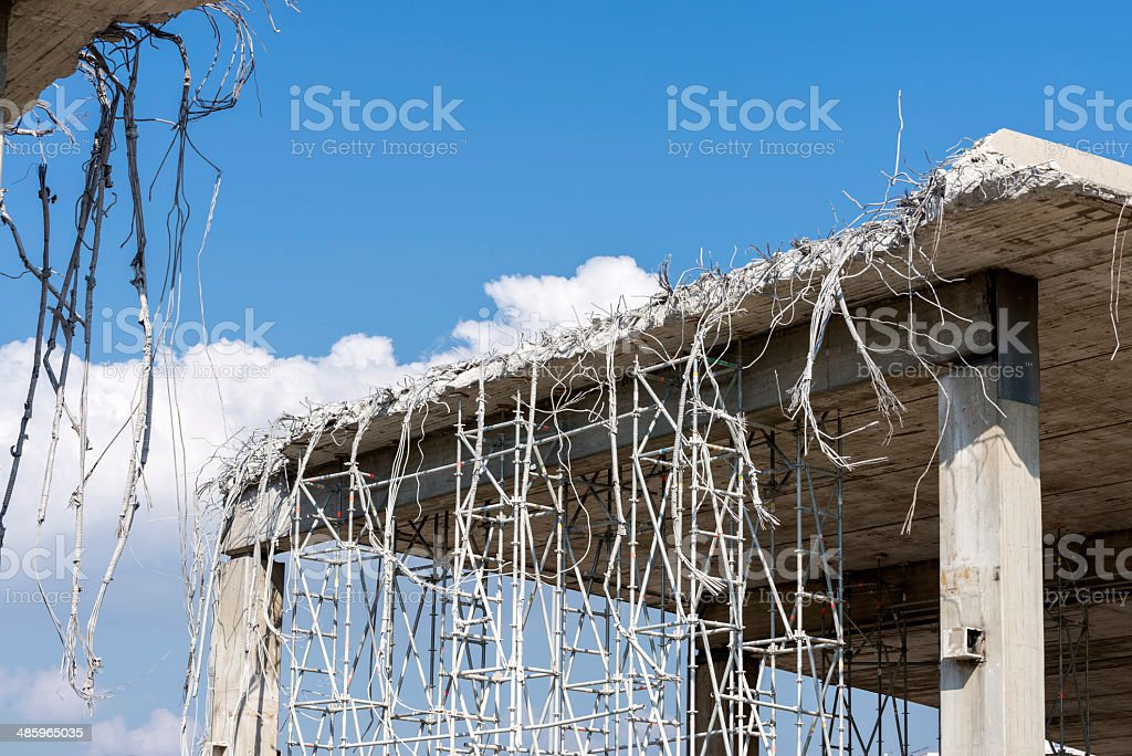 demolition of an urban bridge stock photo
