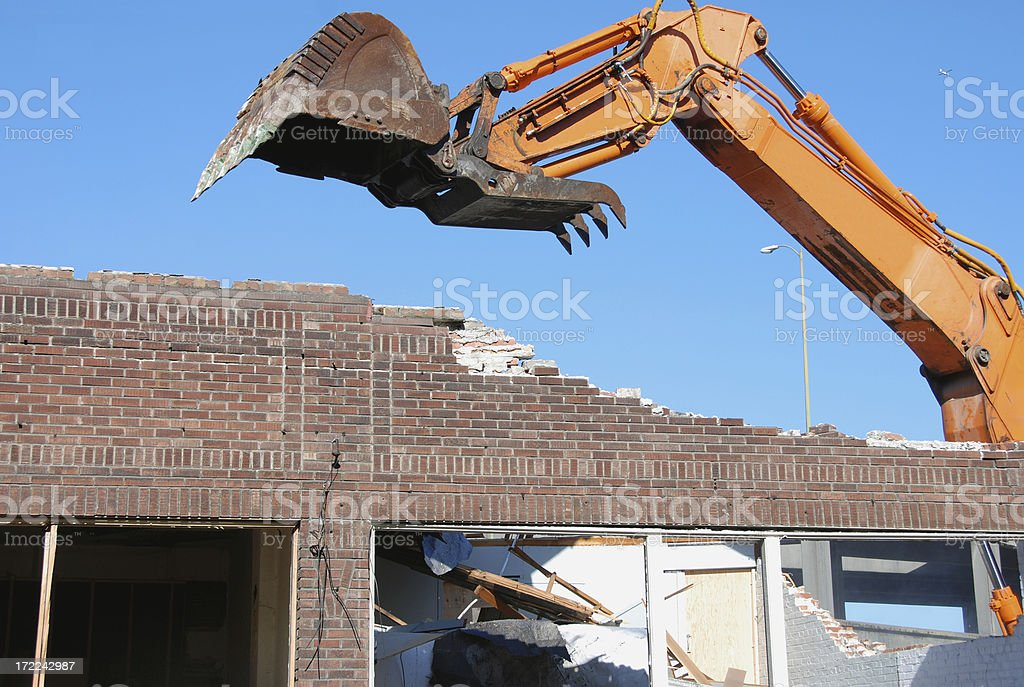 Demolition of historic brick building royalty-free stock photo