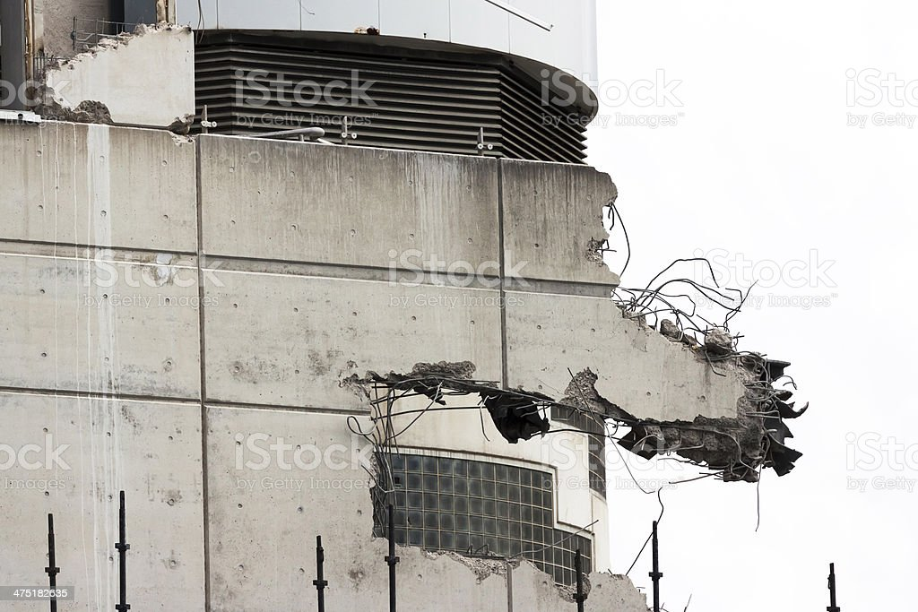 Demolition of office building, copy space stock photo
