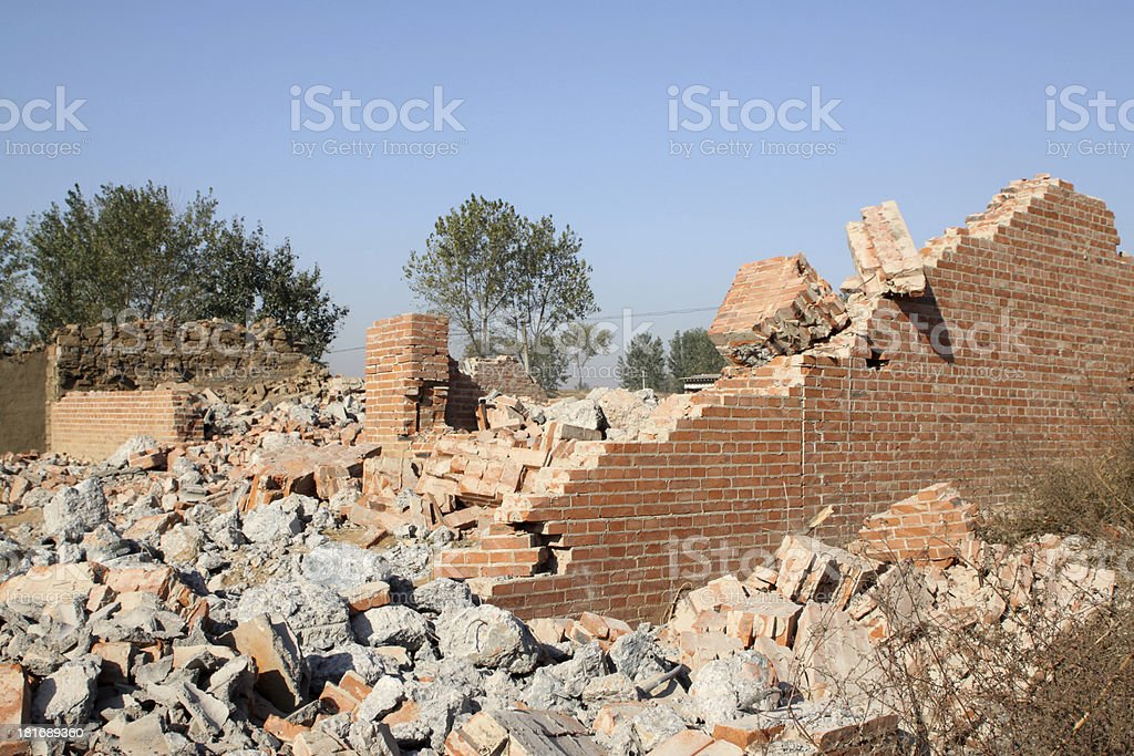 demolition of smoldering rubble royalty-free stock photo