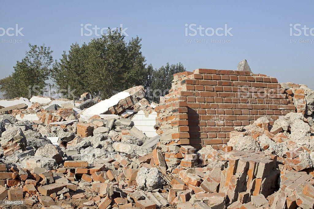 demolition of smoldering rubble royalty-free stock photo
