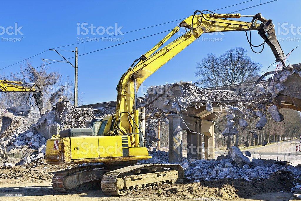 Demolition of the concrete viaduct stock photo